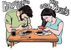 eating on phone